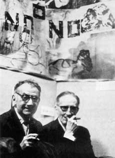 Man Ray and Marcel Duchamp in front of a NO!art image